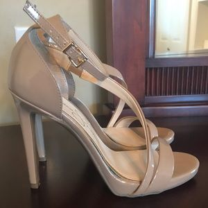 Jessica Simpson Nude Strappy Pencil High Heels